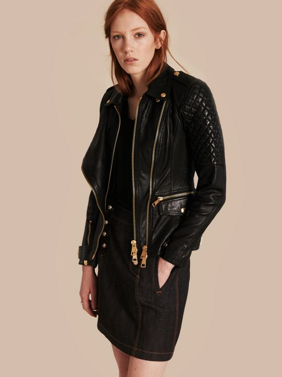 Diamond Quilted Detail Lambskin Biker Jacket