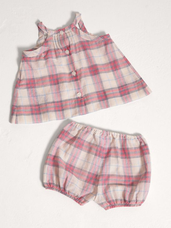 Check Cotton Two-piece Baby Gift Set in Bright Coral Pink | Burberry - cell image 3