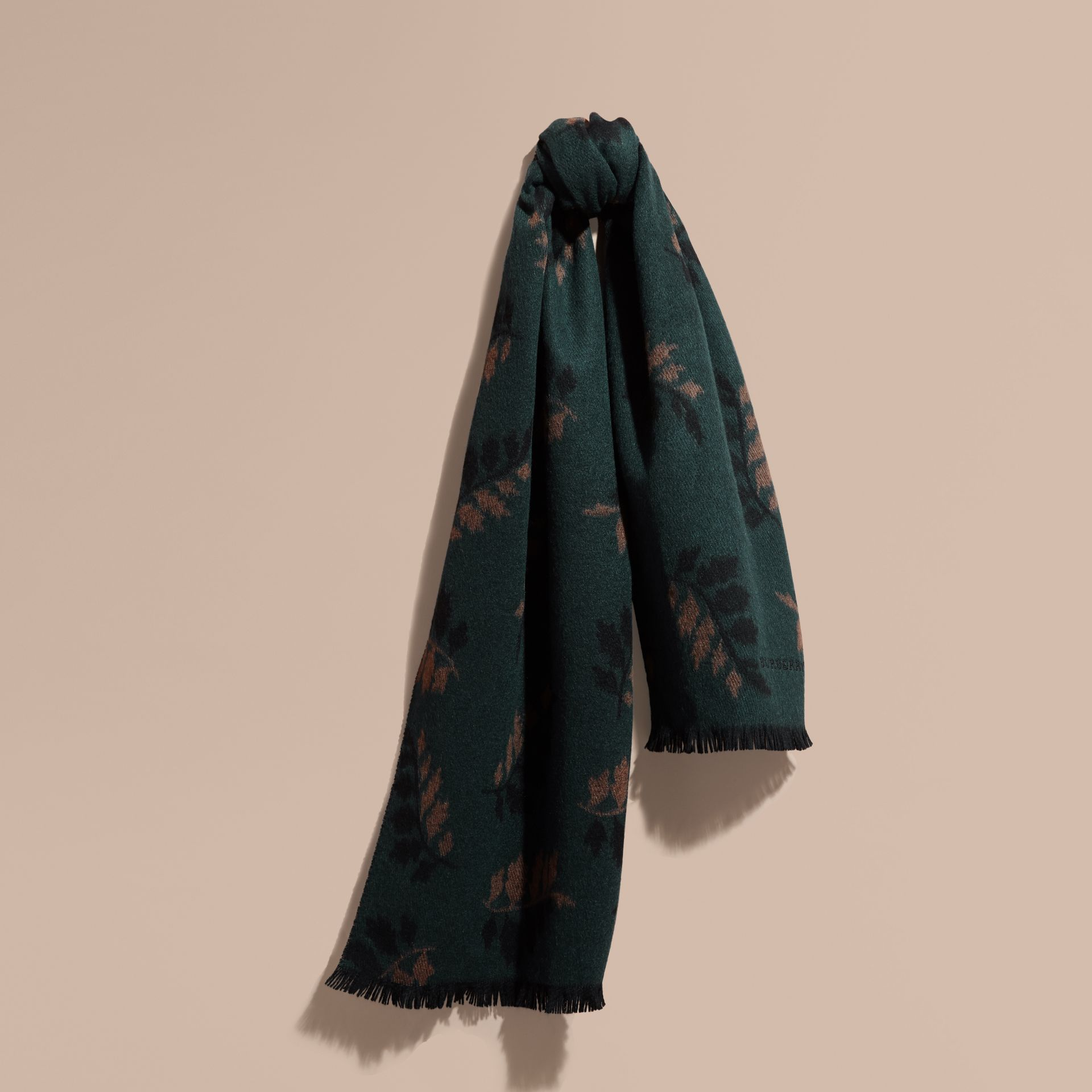 Dark teal green Leaf Jacquard Cashmere Scarf Dark Teal Green - gallery image 1