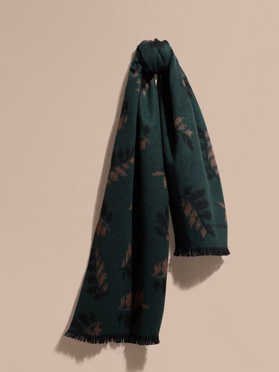Echarpe de cashmere em trama de jacquard com estampa de folhas Verde Petróleo Escuro