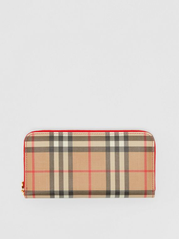 Vintage Check and Leather Ziparound Wallet in Bright Military Red