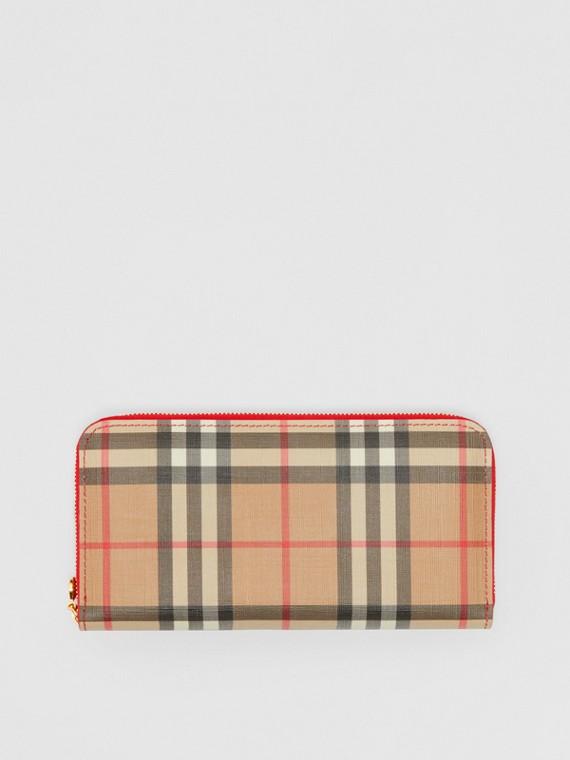 Portefeuille zippé en cuir et Vintage check (Rouge Militaire Vif)
