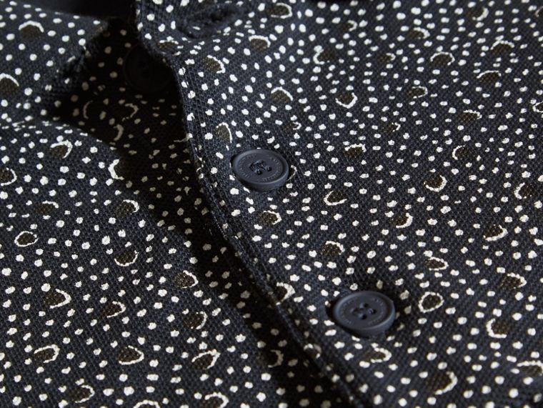 Navy Polo in cotone con stampa a macchie pittorica Navy - cell image 1