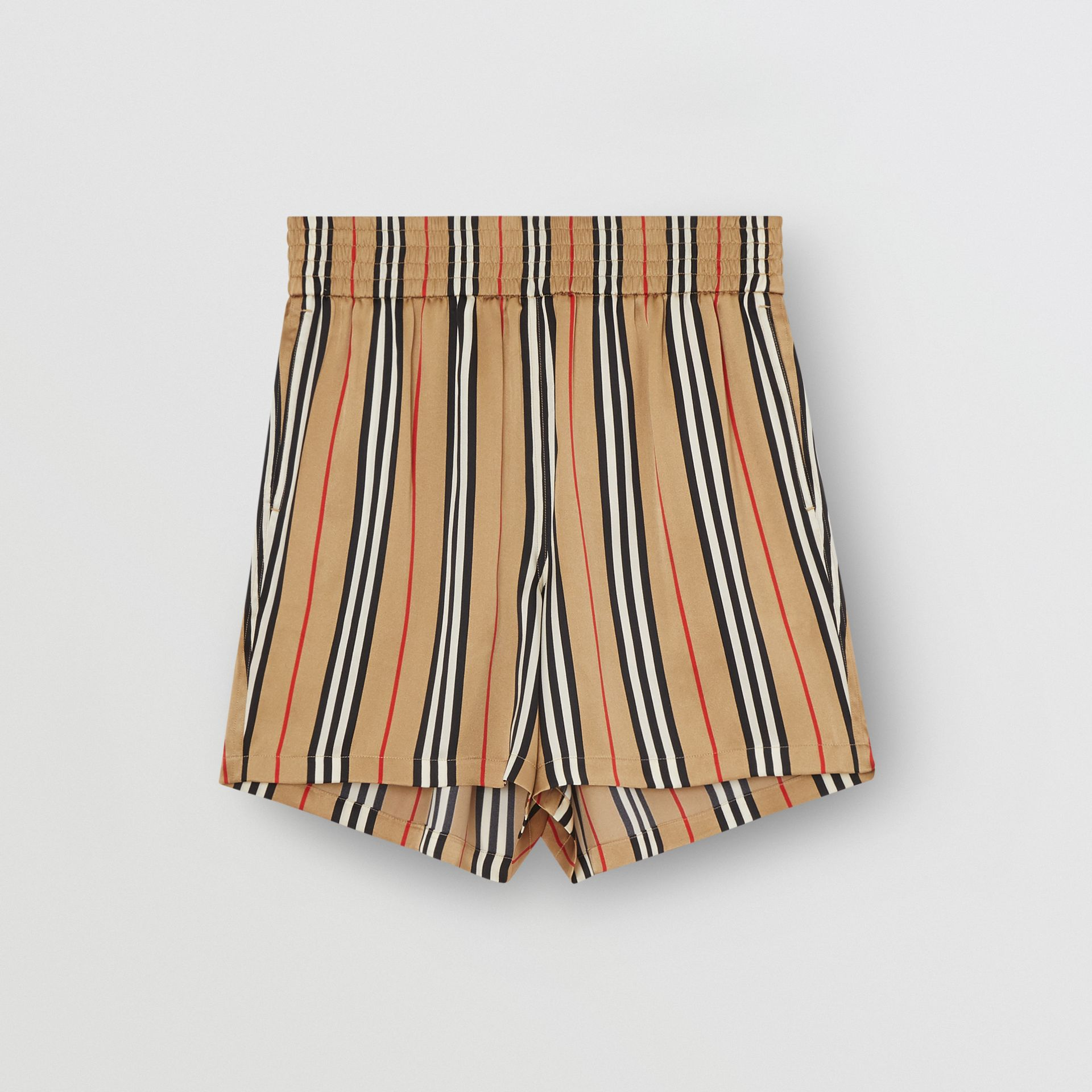 Icon Stripe Silk Shorts in Archive Beige | Burberry - gallery image 3
