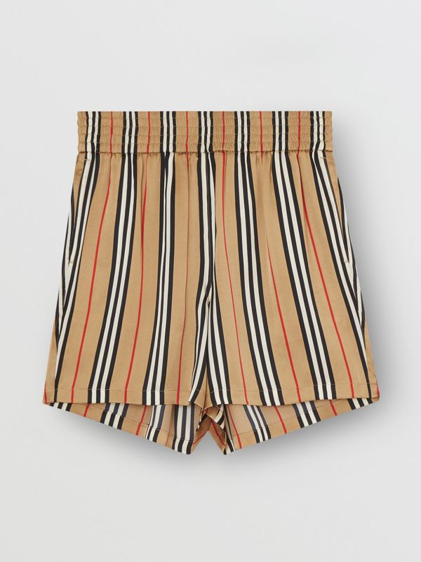 Icon Stripe Silk Shorts in Archive Beige | Burberry - cell image 3