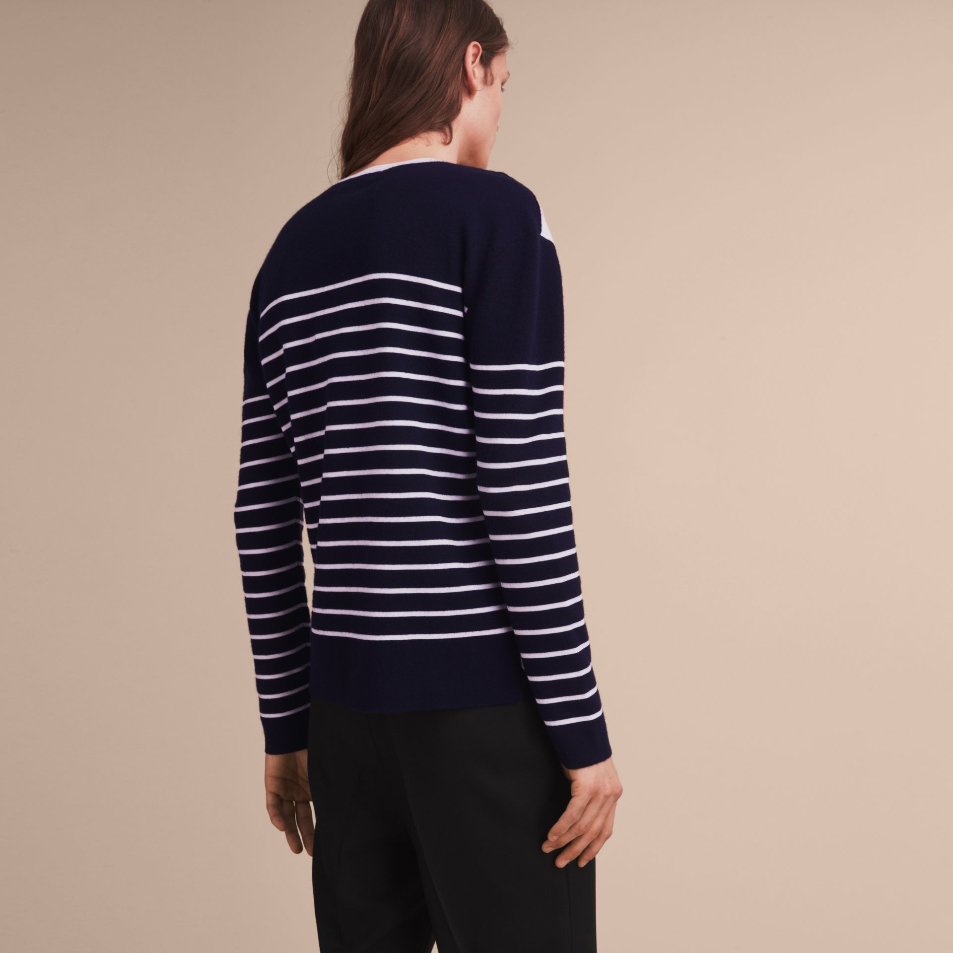 Contrast Stripe Cashmere Blend Sweater in Navy - Men | Burberry - gallery image 3