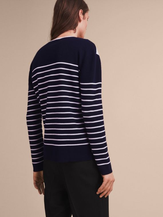 Contrast Stripe Cashmere Blend Sweater in Navy - Men | Burberry - cell image 2