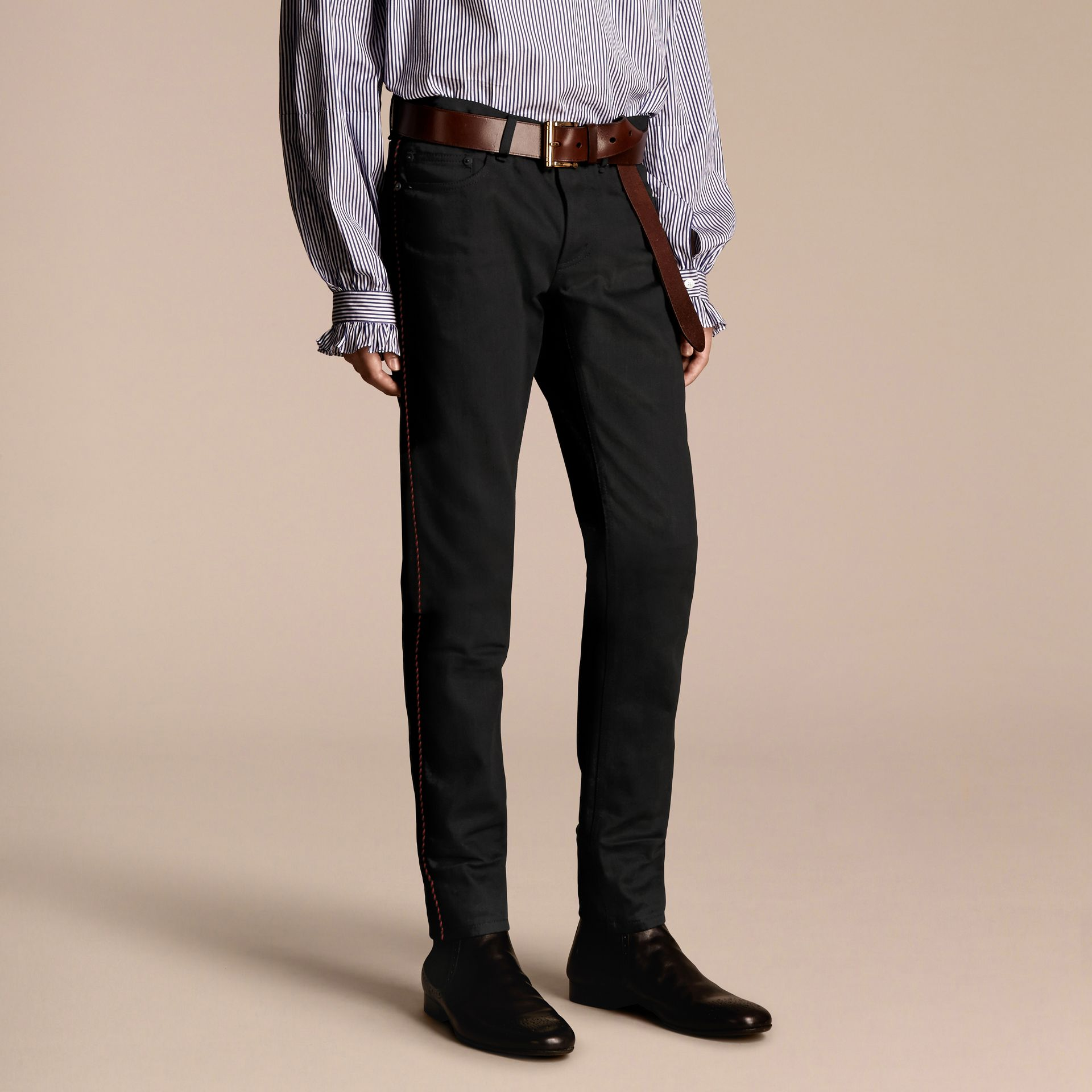 Slim Fit Regimental Jeans - gallery image 1