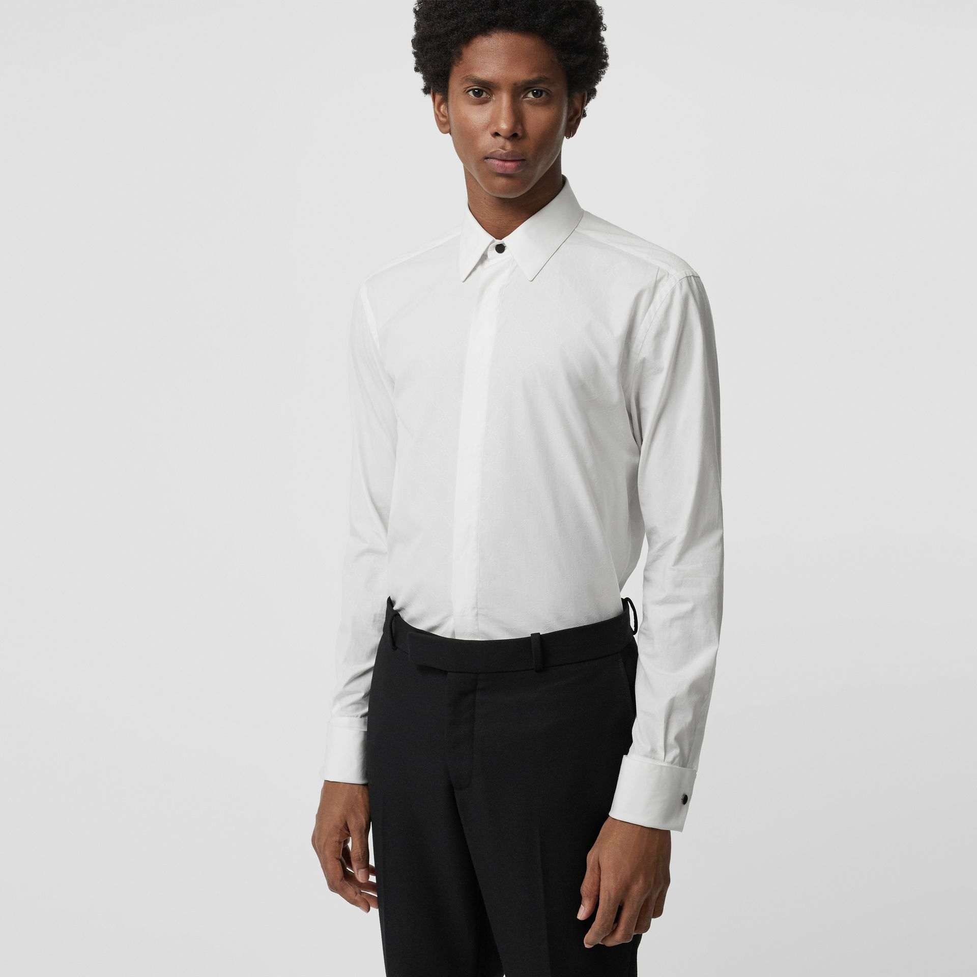 Classic Fit Link Cotton Jacquard Dress Shirt in White - Men | Burberry - gallery image 0
