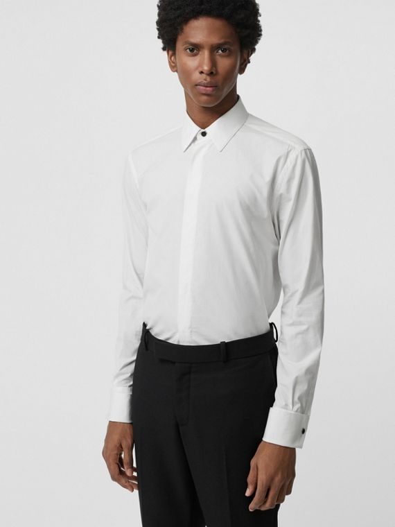 Classic Fit Link Cotton Jacquard Dress Shirt in White