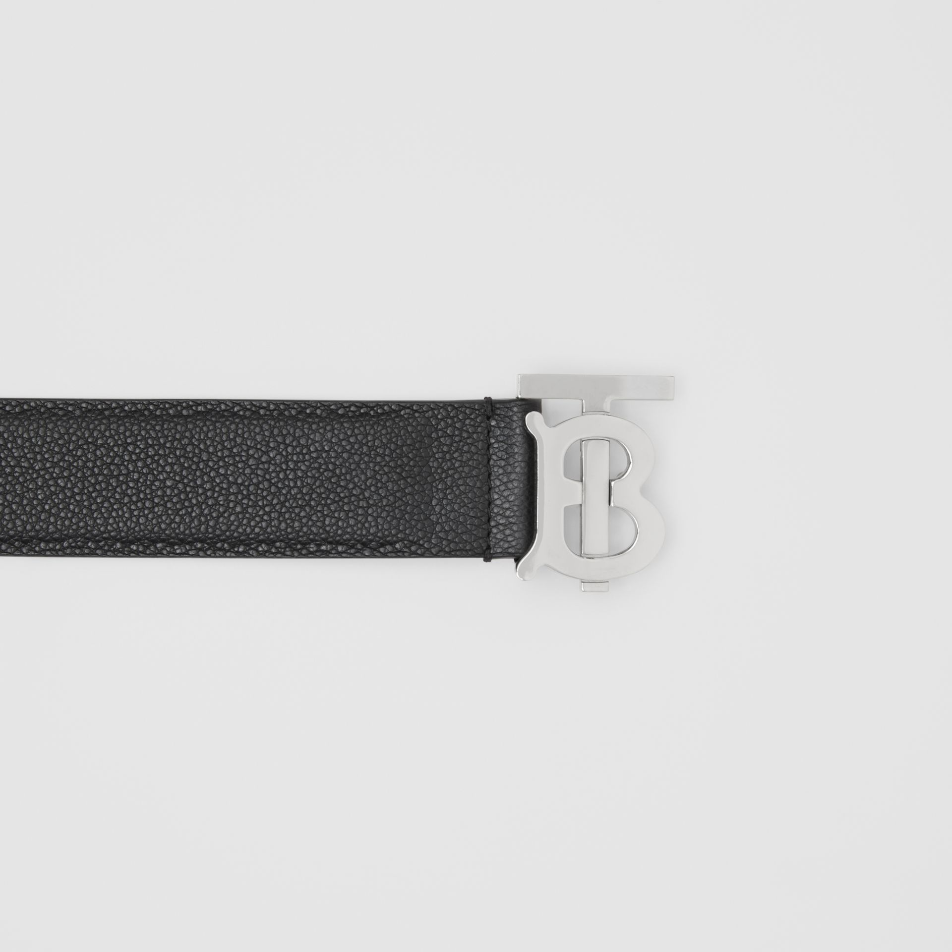 Monogram Motif Grainy Leather Belt in Black - Men | Burberry - gallery image 1