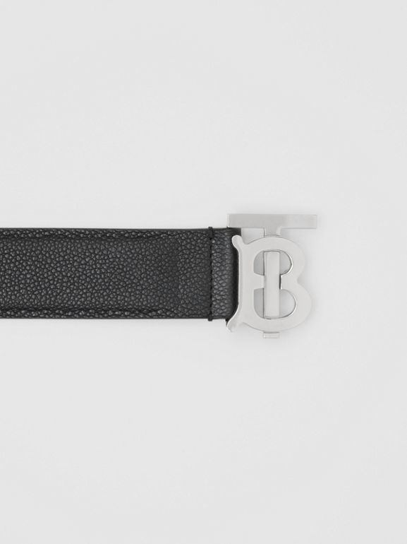 Monogram Motif Grainy Leather Belt in Black - Men | Burberry - cell image 1