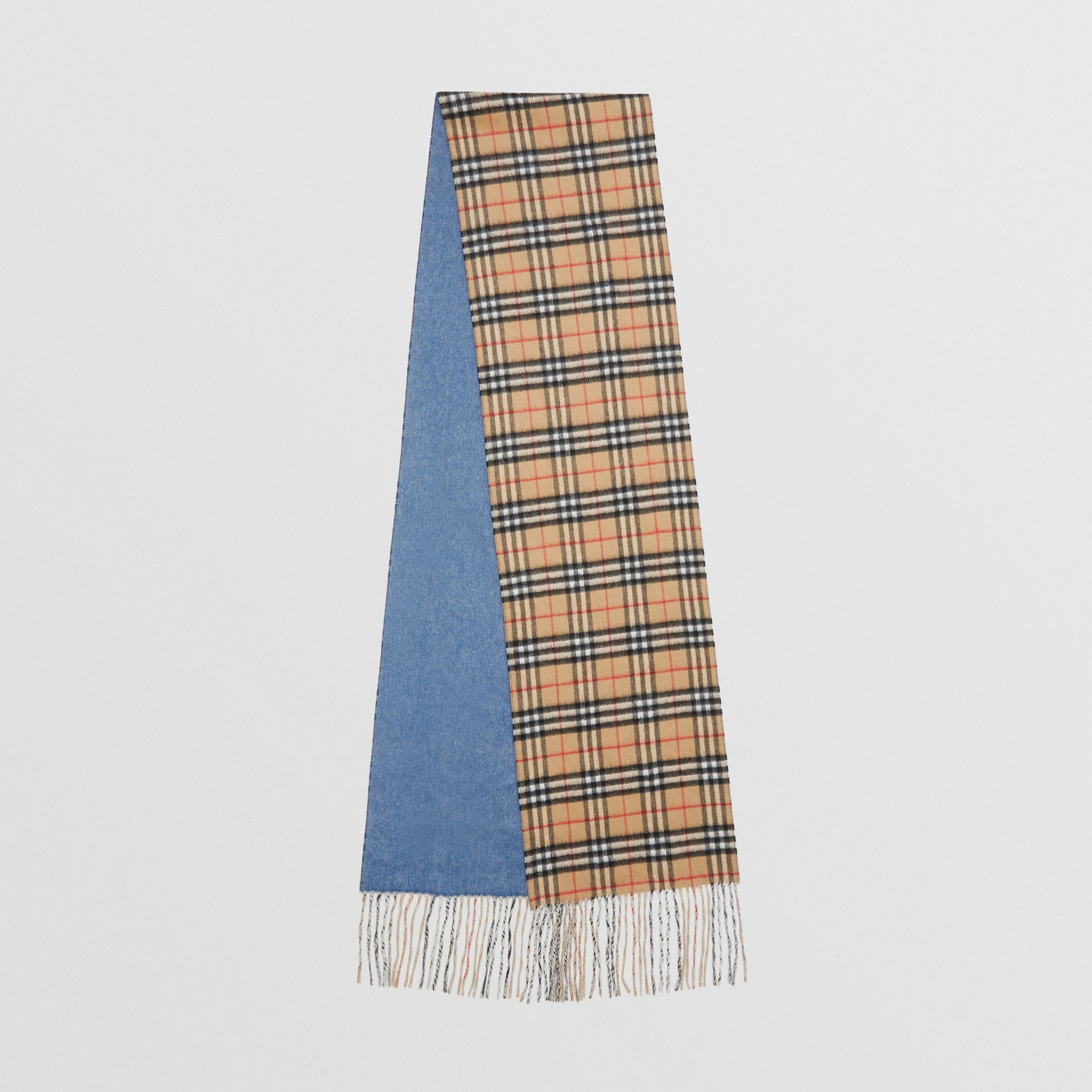 Long Reversible Vintage Check Double-faced Cashmere Scarf in Stone Blue | Burberry Singapore - gallery image 0