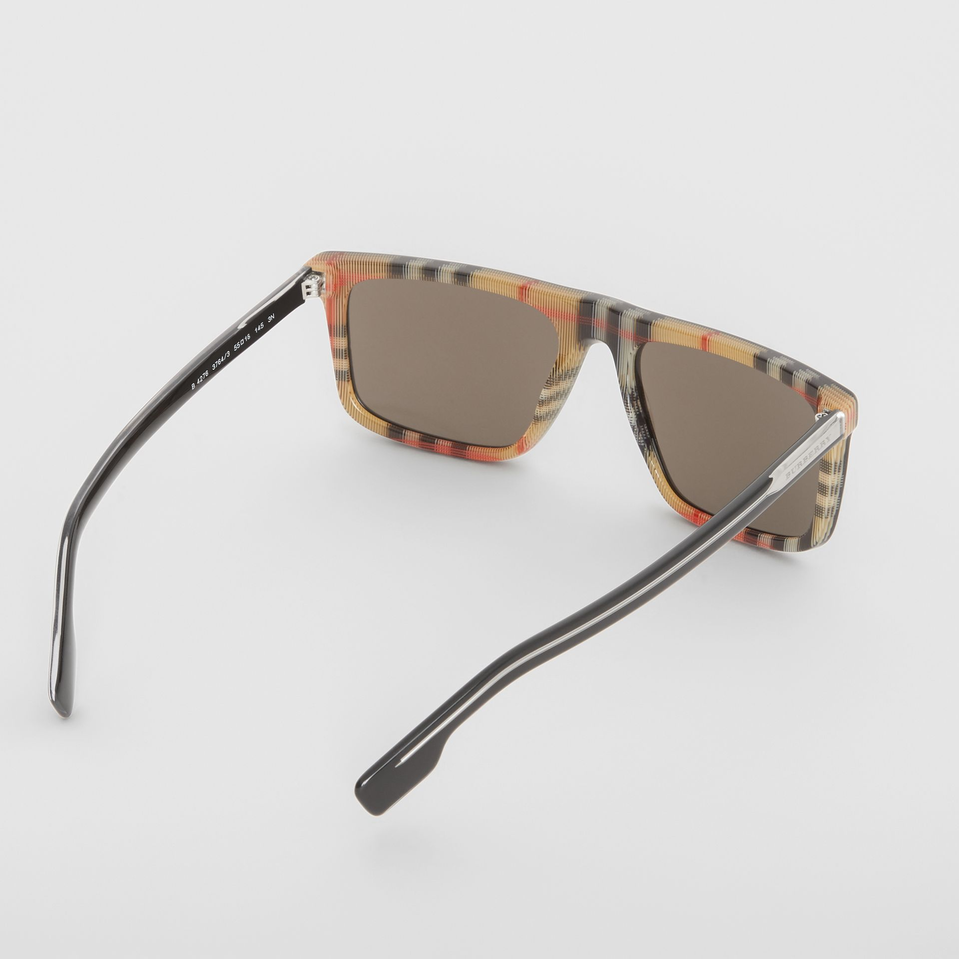 Vintage Check Detail Straight-brow Sunglasses in Antique Yellow - Men | Burberry Australia - gallery image 4