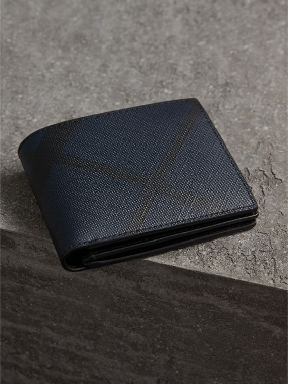 London Check International Bifold ID Coin Wallet in Navy/black - Men | Burberry - cell image 2
