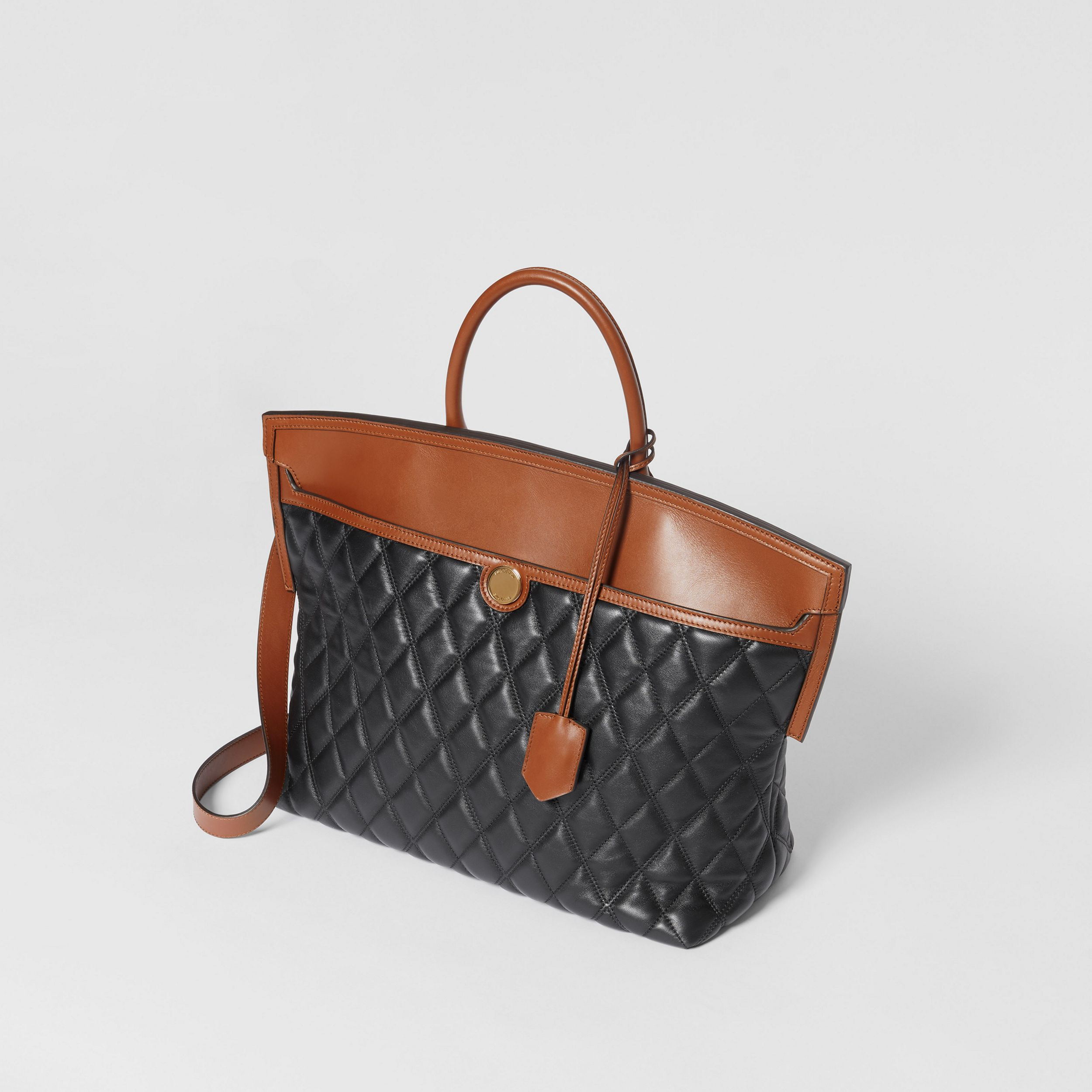 Quilted Lambskin Society Top Handle Bag in Black/brown - Women | Burberry - 4