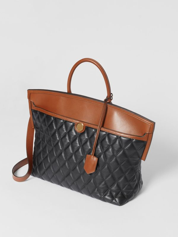 Quilted Lambskin Society Top Handle Bag in Black/brown - Women | Burberry United Kingdom - cell image 3