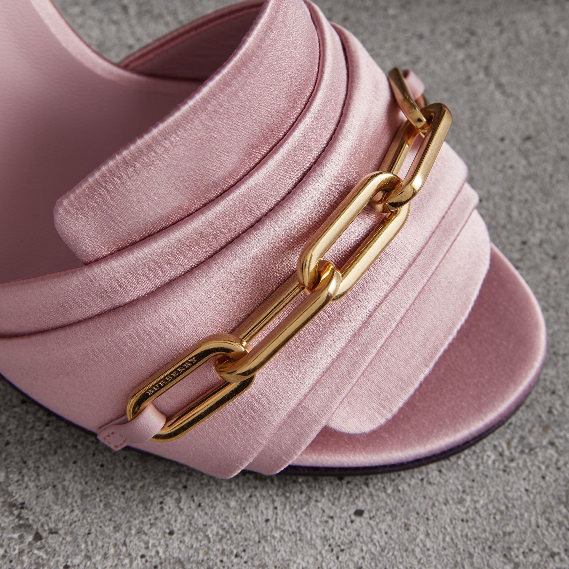 Link Detail Perspex Heel Satin Sandals in Light Pink Melange - Women | Burberry - gallery image 1