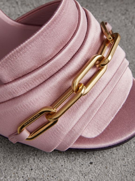 Link Detail Perspex Heel Satin Sandals in Light Pink Melange - Women | Burberry - cell image 1