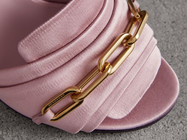 Link Detail Perspex Heel Satin Sandals in Light Pink Melange - Women | Burberry Canada - cell image 1