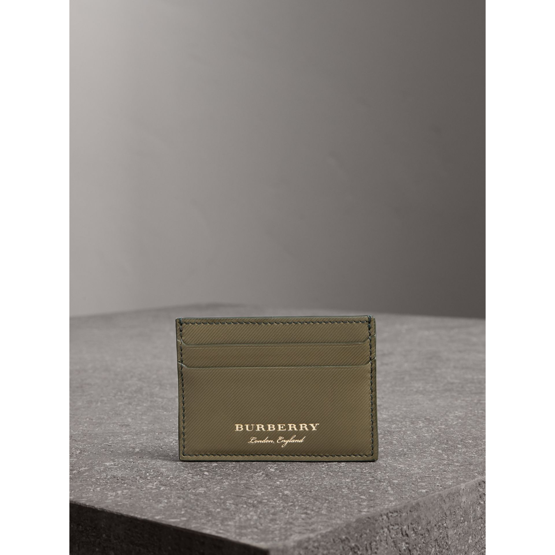 Trench Leather Card Case in Slate Green - Men | Burberry - gallery image 4