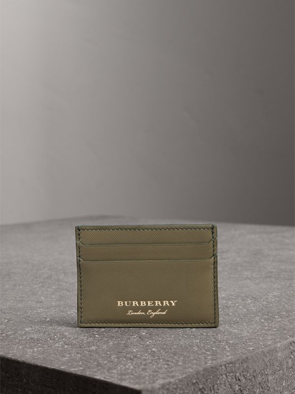 Trench Leather Card Case in Slate Green | Burberry - cell image 3