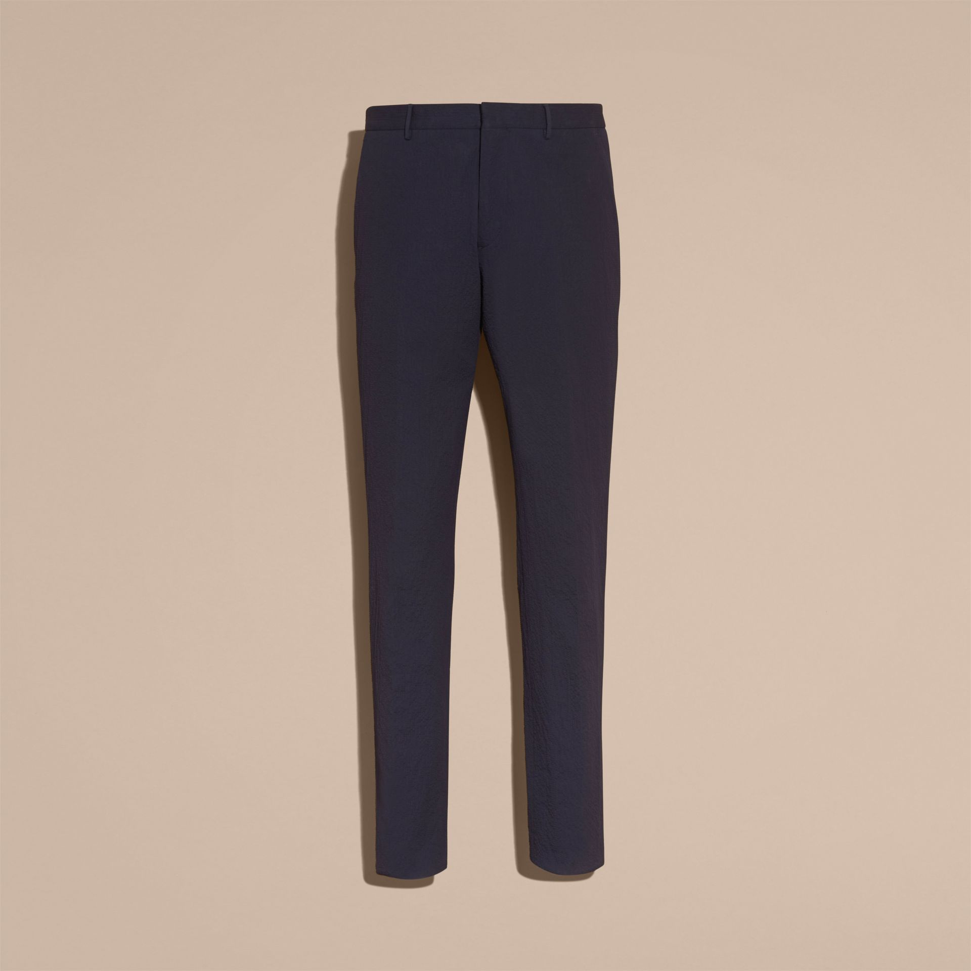 Slim Fit Textured Stretch Cotton Trousers - Men | Burberry - gallery image 4