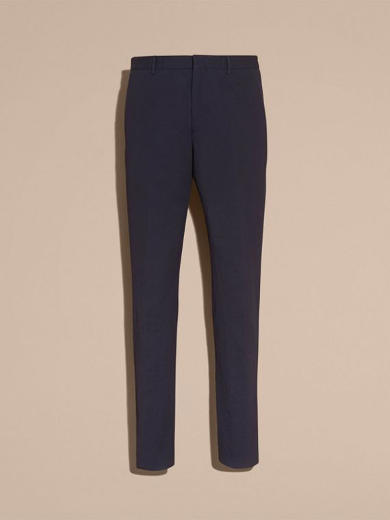 Slim Fit Textured Stretch Cotton Trousers - Men | Burberry - cell image 3