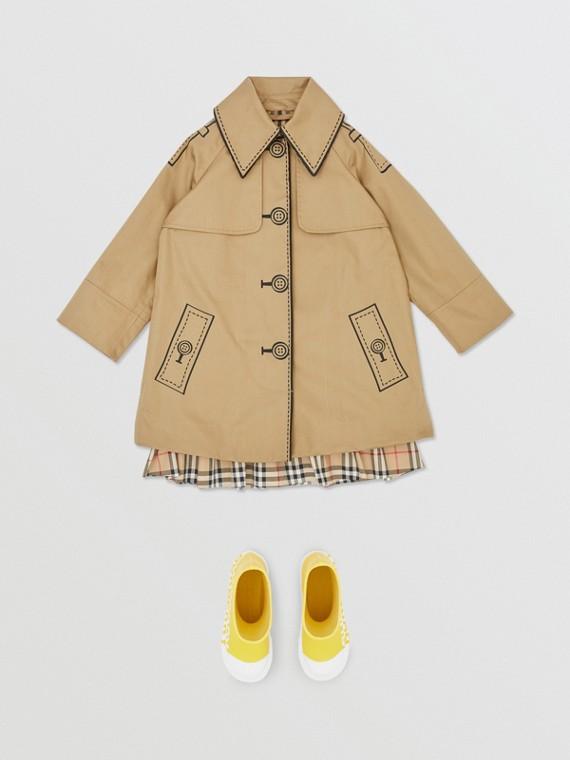 Swing coat de algodão com estampa Trompe L'Oeil (Mel)