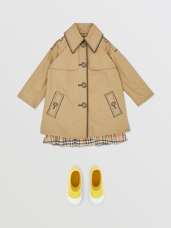Trompe L'Oeil Cotton Swing Coat in Honey | Burberry - cell image 2