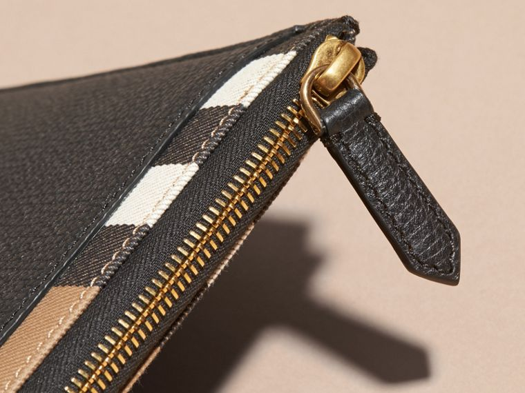 Zipped Grainy Leather and House Check Pouch in Black - Men | Burberry - cell image 1