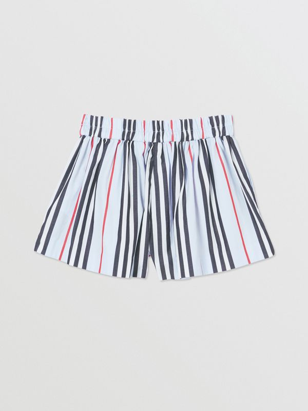 Icon Stripe Cotton Poplin Shorts in Pale Blue - Children | Burberry - cell image 3