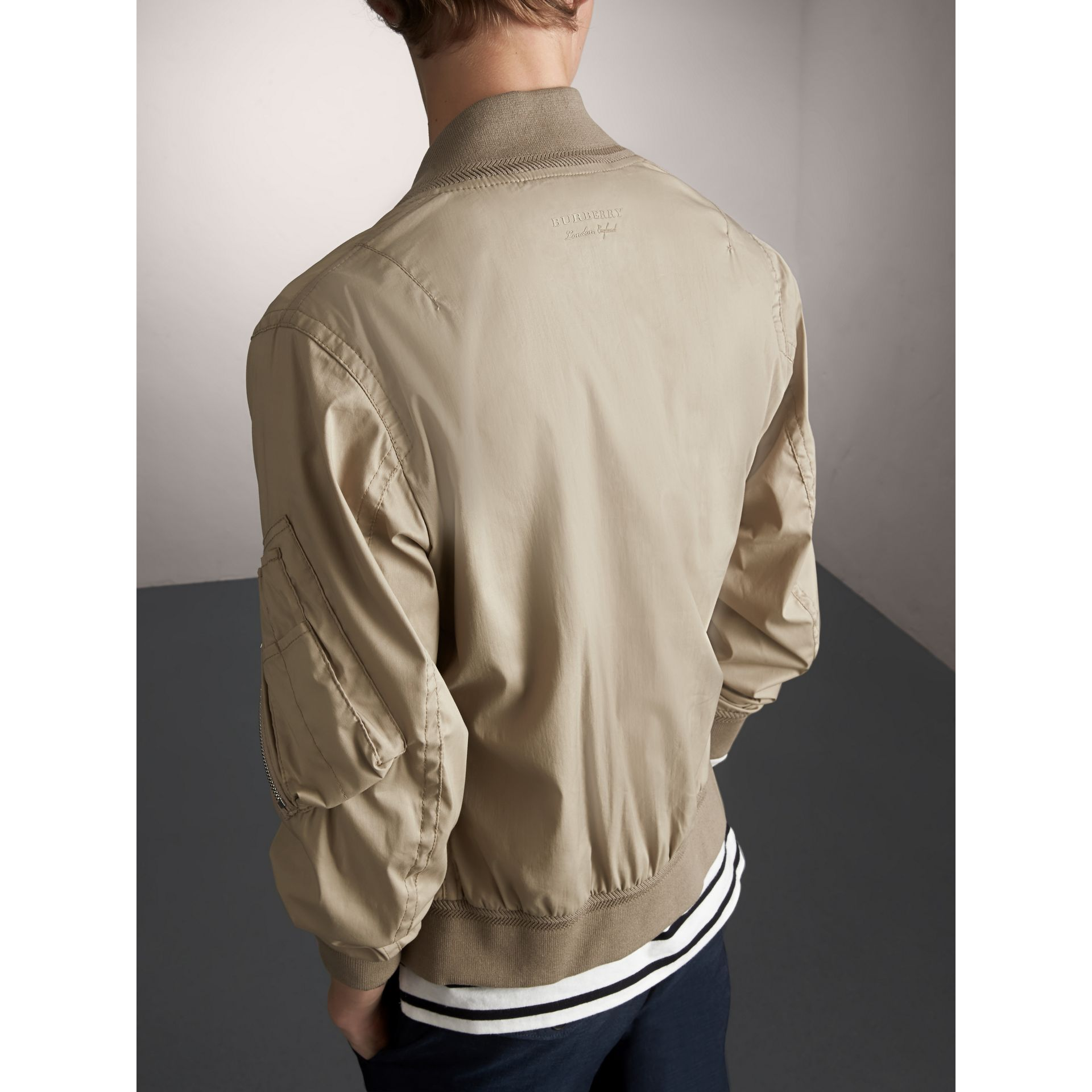 Cotton Blend Twill Bomber Jacket in Taupe - Men | Burberry - gallery image 3