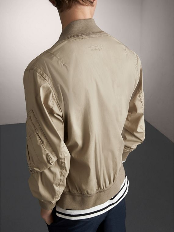 Cotton Blend Twill Bomber Jacket in Taupe - Men | Burberry - cell image 2