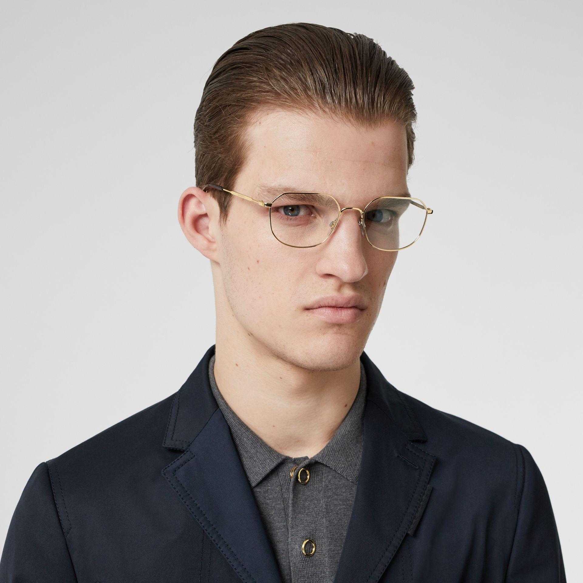Gold-plated Square Optical Frames in Light - Men | Burberry - gallery image 2