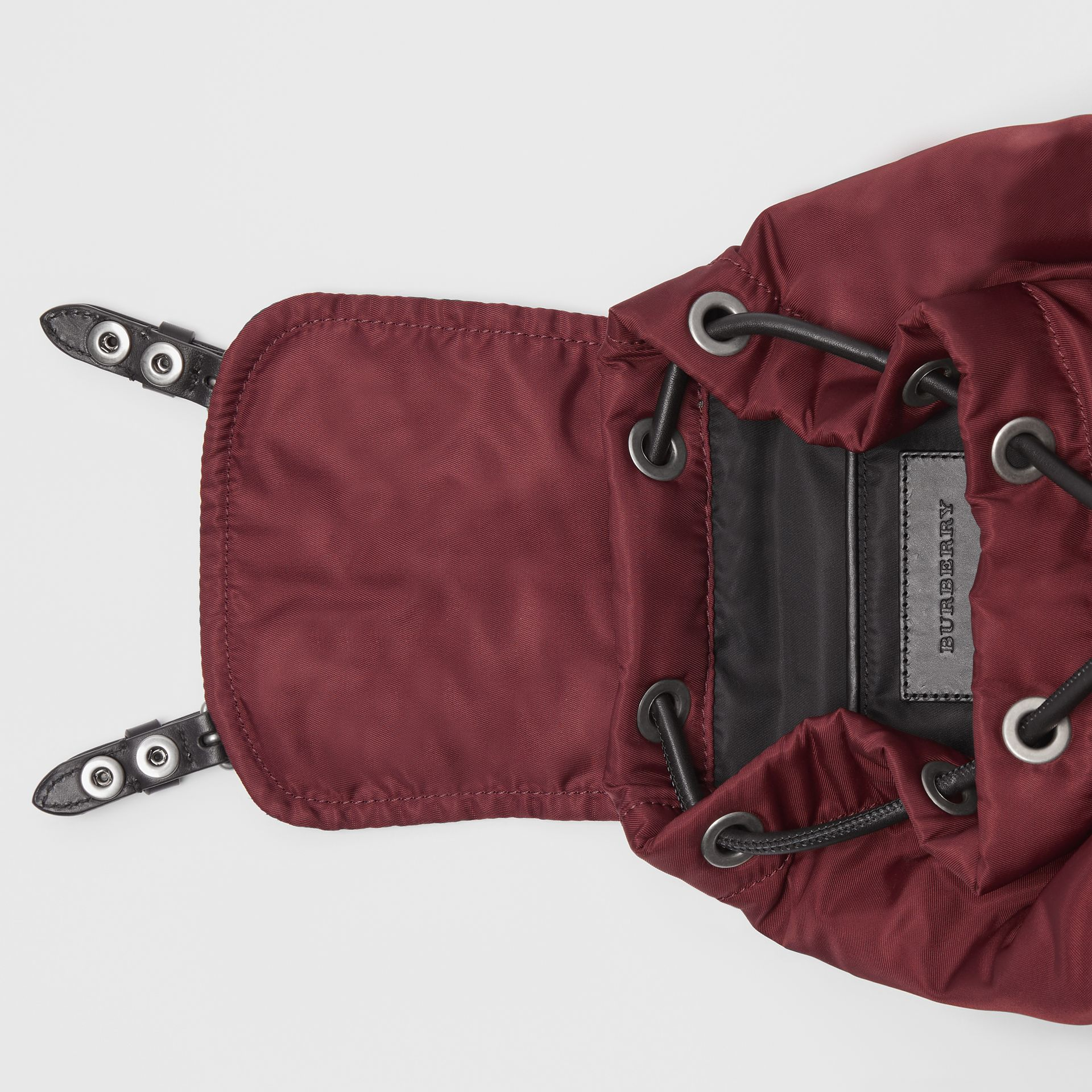 The Small Crossbody Rucksack in Puffer Nylon in Burgundy Red - Women | Burberry - gallery image 3