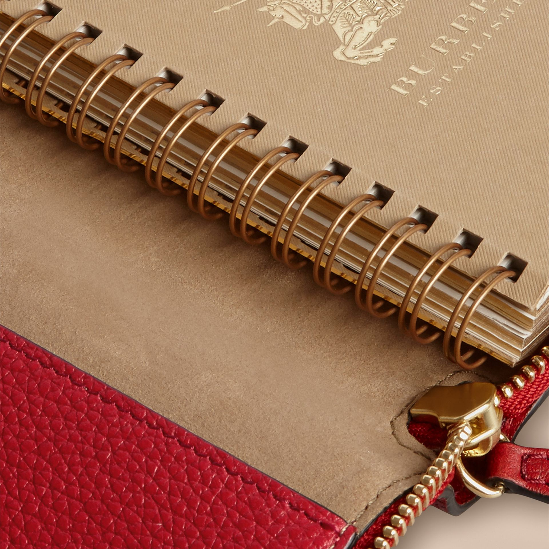 Ziparound Grainy Leather Mini Notebook in Parade Red | Burberry - gallery image 5