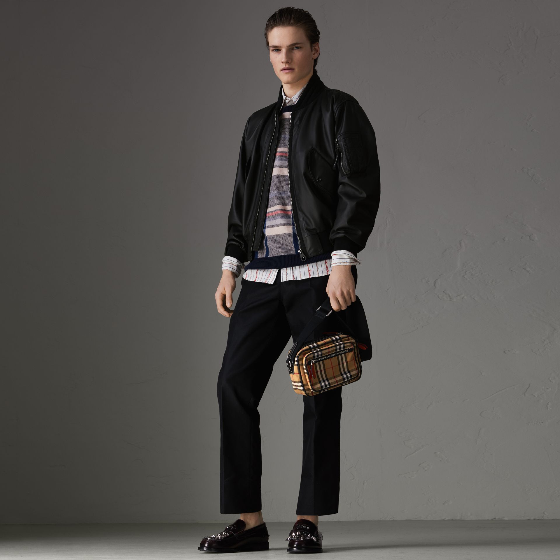 Lambskin Bomber Jacket in Black - Men | Burberry - gallery image 0