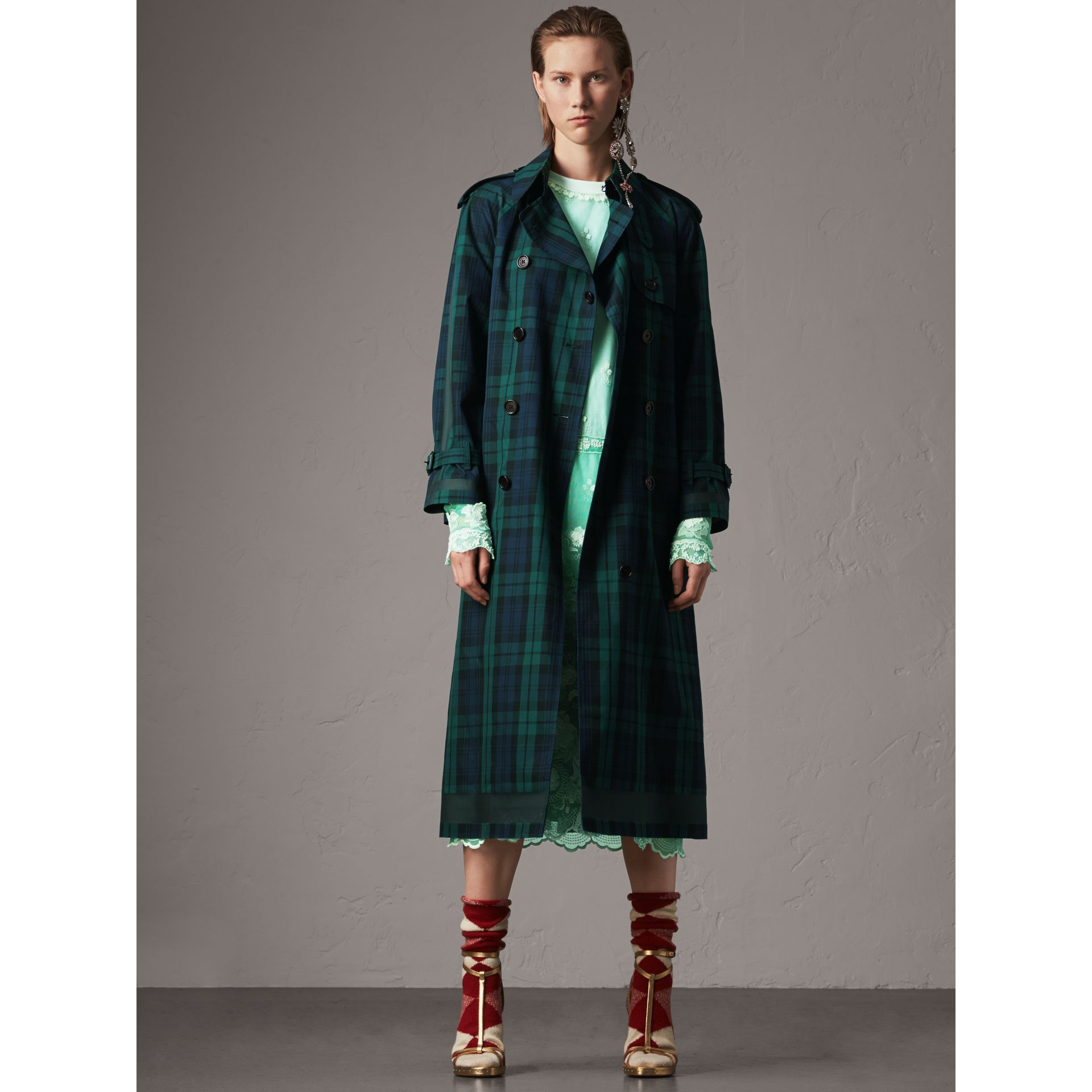 Tartan Cotton Gabardine Trench Coat in Bright Navy - Women | Burberry - gallery image 1