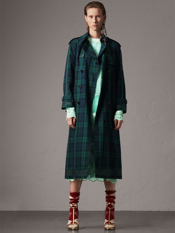 Tartan Cotton Gabardine Trench Coat in Bright Navy