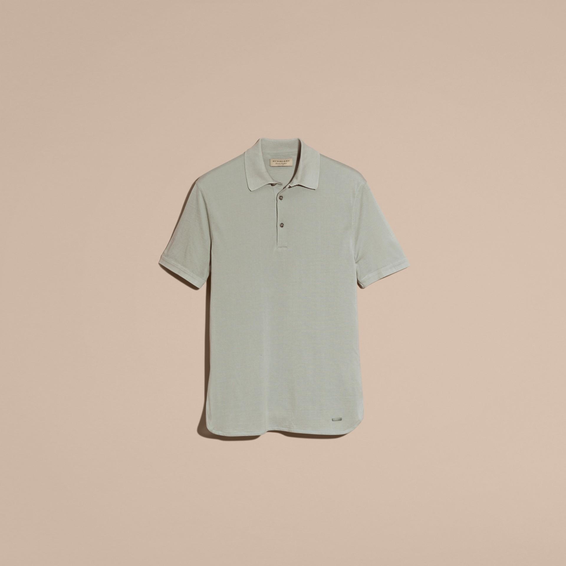 Eucalyptus green Silk Cotton Polo Shirt - gallery image 4