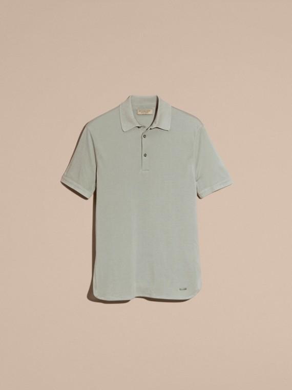 Eucalyptus green Silk Cotton Polo Shirt - cell image 3