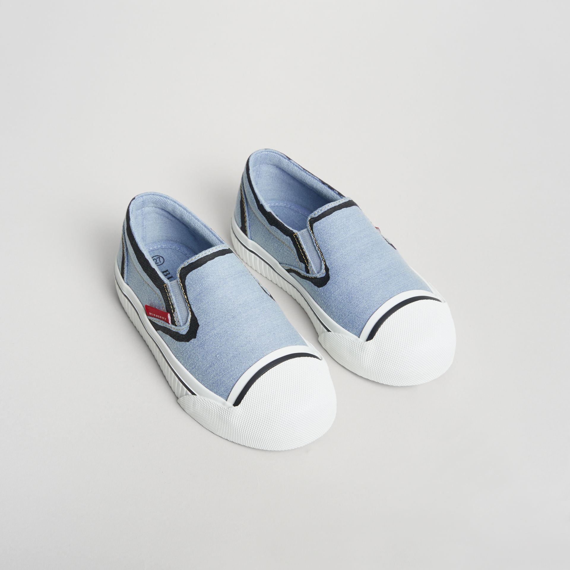 Scribble Print Slip-on Sneakers in Light Blue | Burberry Australia - gallery image 0