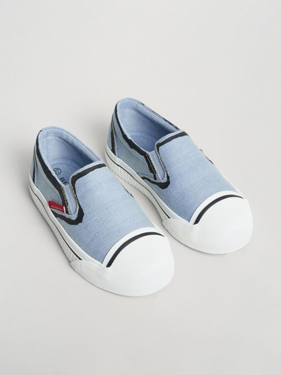 Scribble Print Slip-on Sneakers in Light Blue