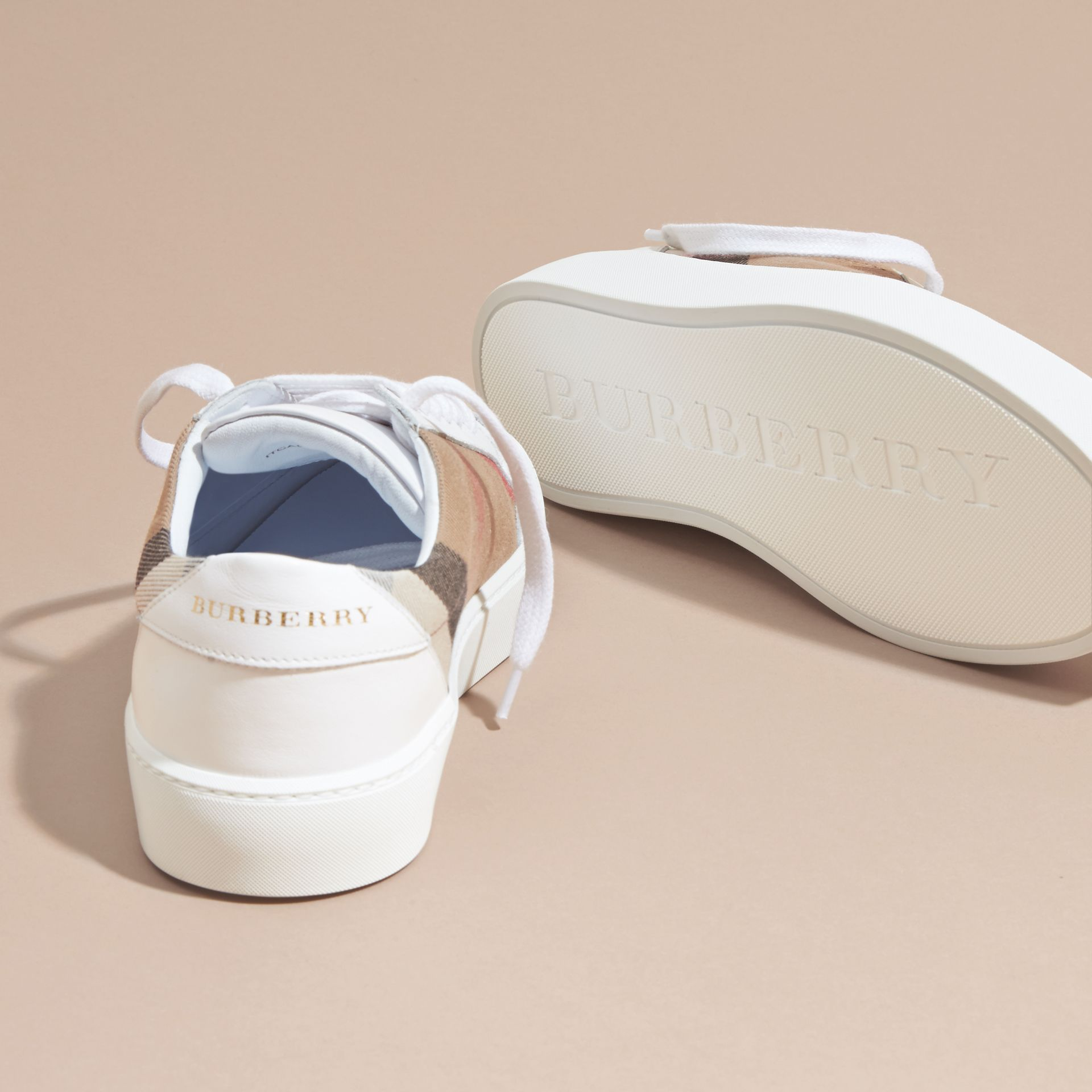 Check Detail Leather Trainers in House Check/ Optic White - Women | Burberry - gallery image 5