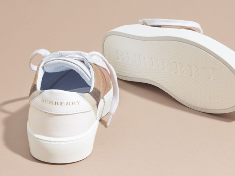 Check Detail Leather Trainers in House Check/ Optic White - Women | Burberry - cell image 4