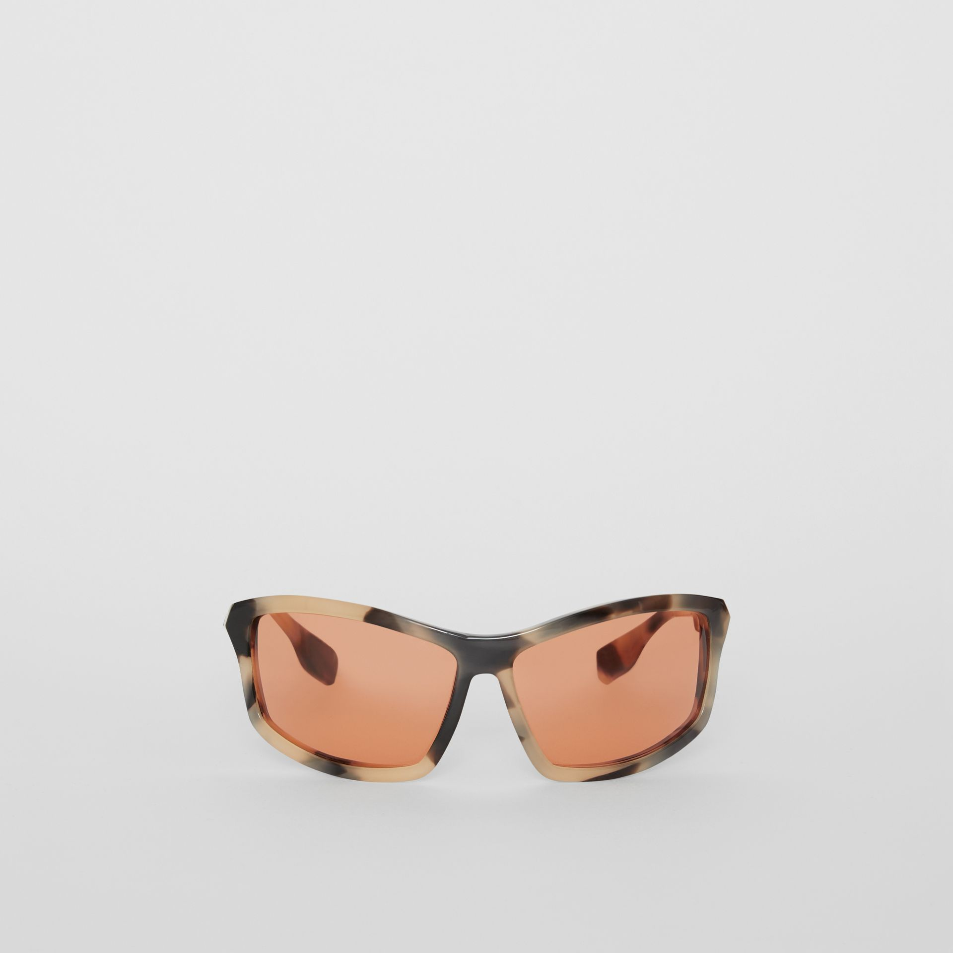 Wrap Frame Sunglasses in Orange - Men | Burberry - gallery image 0