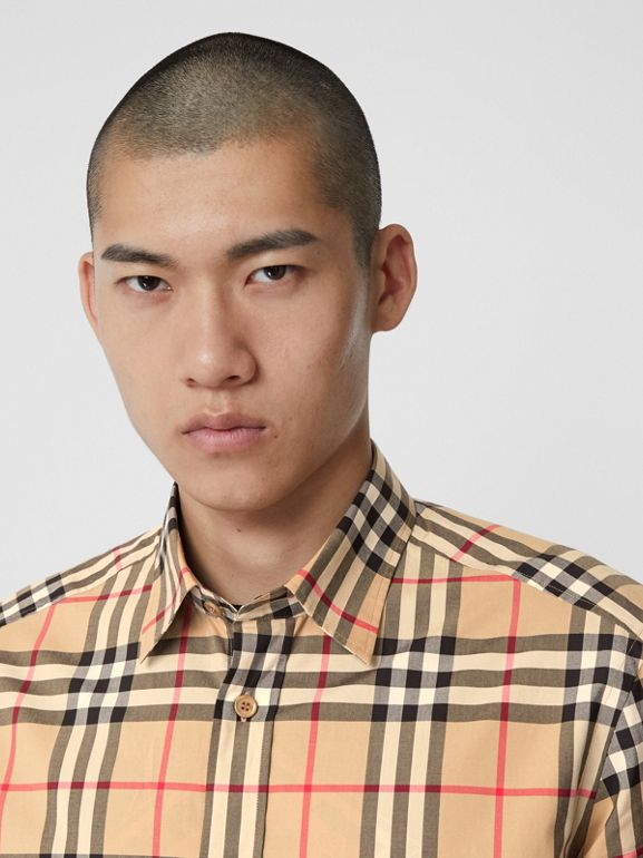 Check Cotton Poplin Shirt in Archive Beige - Men | Burberry United States - cell image 1