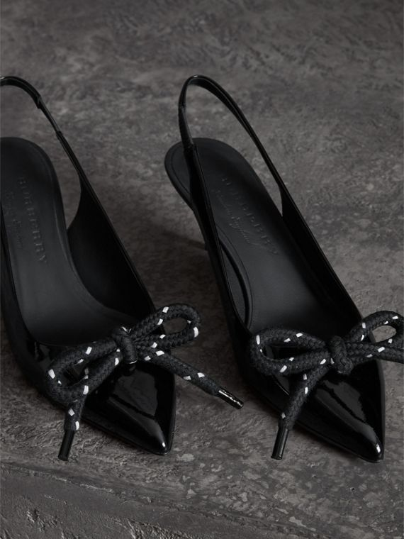 Rope Detail Patent Leather Slingback Pumps in Black - Women | Burberry - cell image 3