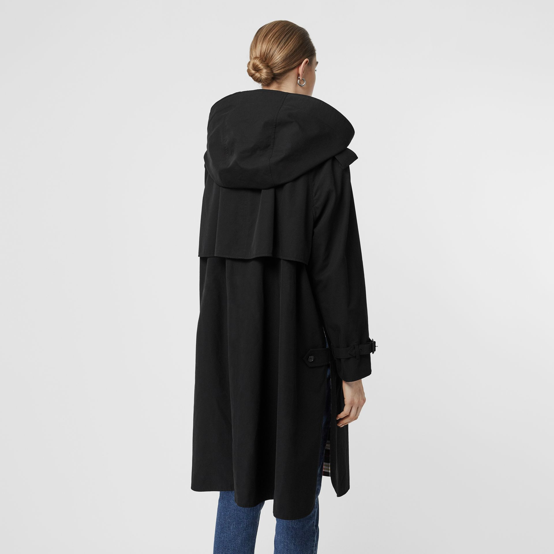 Detachable Hood Tropical Gabardine Car Coat in Black - Women | Burberry United States - gallery image 2